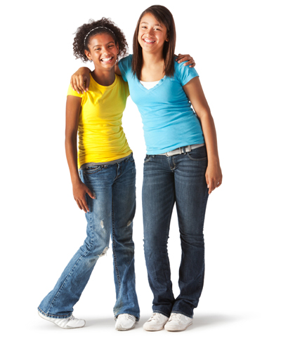 Two young girls posing